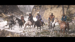 Red Dead Redemption 2_fila caballos atraco tren